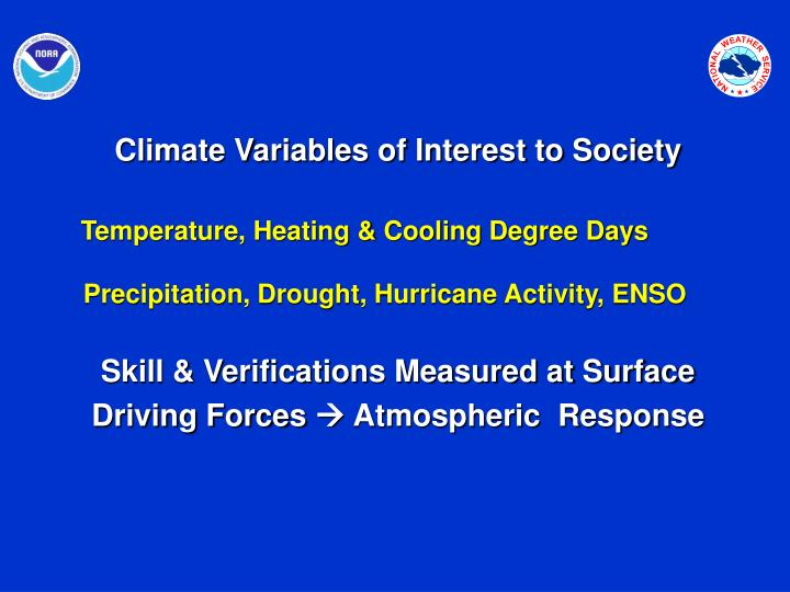 Climate Variables of Interest to Society