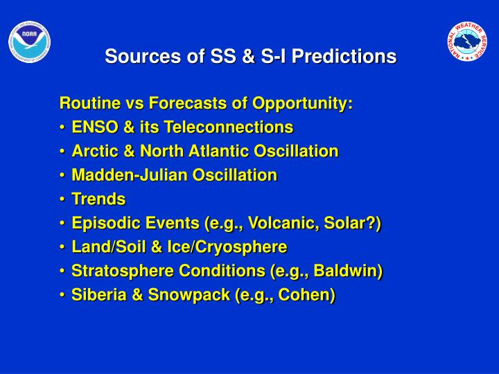 Sources of SS & S-I Predictions