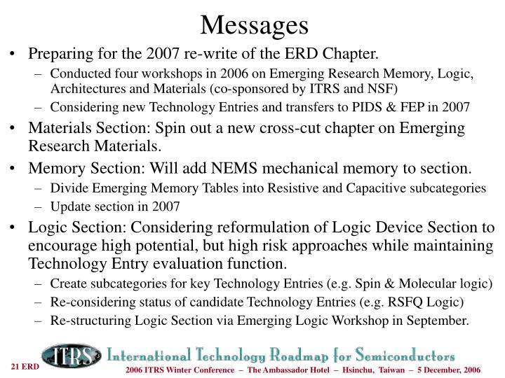 Preparing for the 2007 re-write of the ERD Chapter.