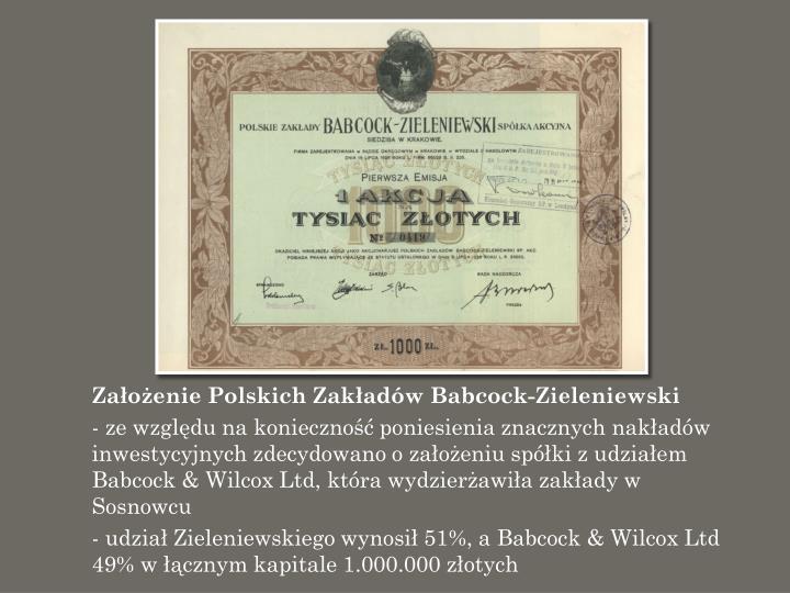 Założenie Polskich Zakładów Babcock-Zieleniewski