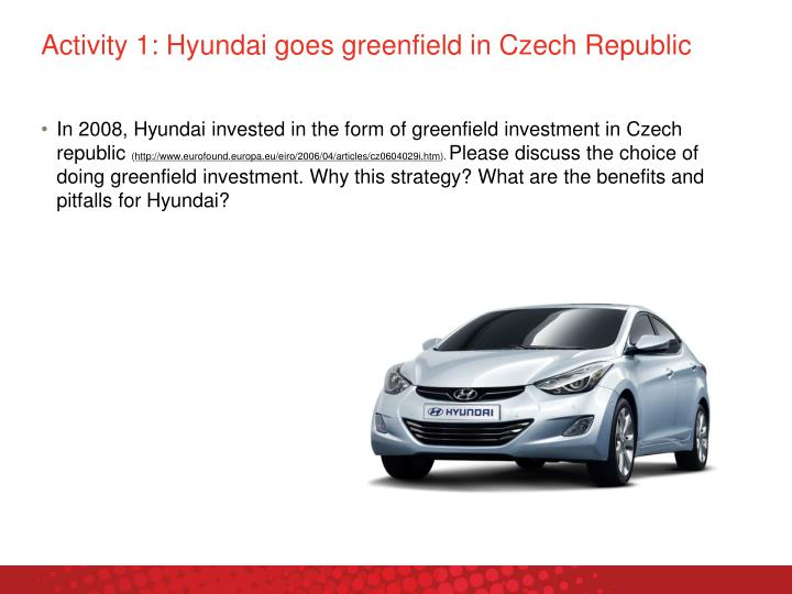 Activity 1: Hyundai goes greenfield in Czech Republic