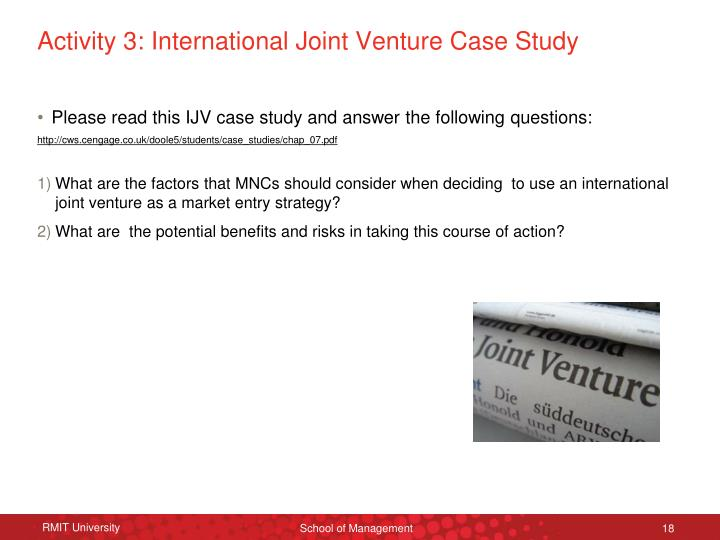 Activity 3: International Joint Venture Case Study