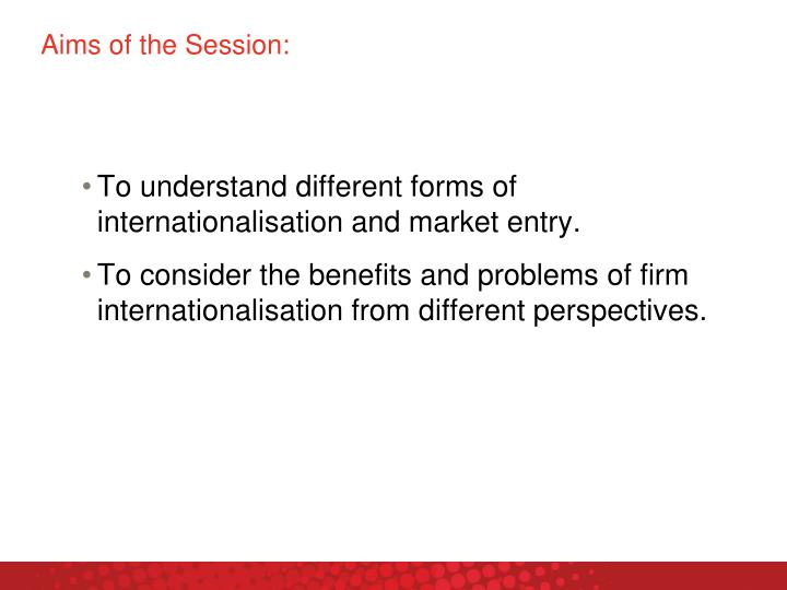 Aims of the Session: