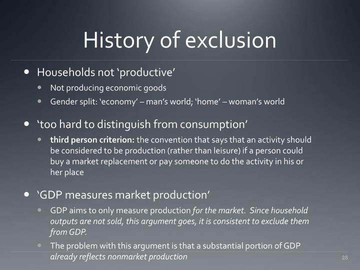 History of exclusion