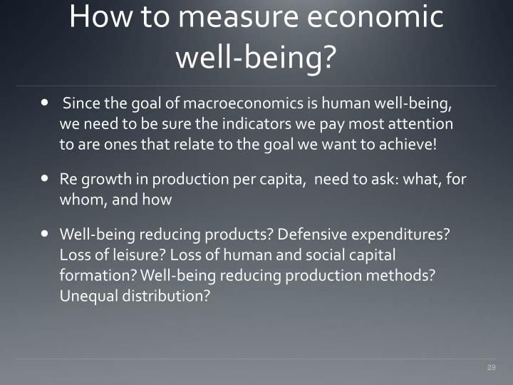 How to measure economic well-being?