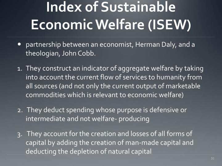 Index of Sustainable Economic Welfare (ISEW)