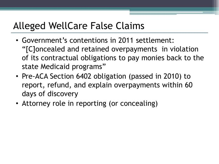 Alleged WellCare False Claims