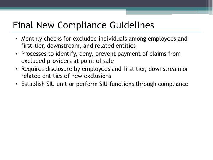 Final New Compliance Guidelines