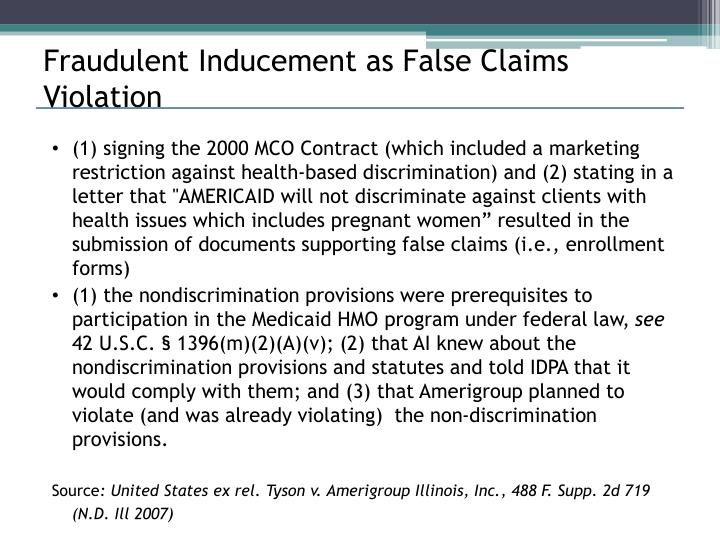 Fraudulent Inducement as False Claims Violation