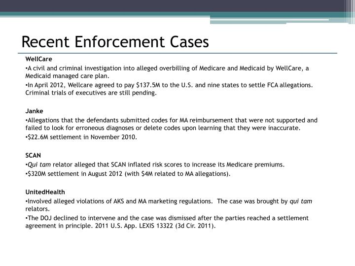 Recent Enforcement Cases
