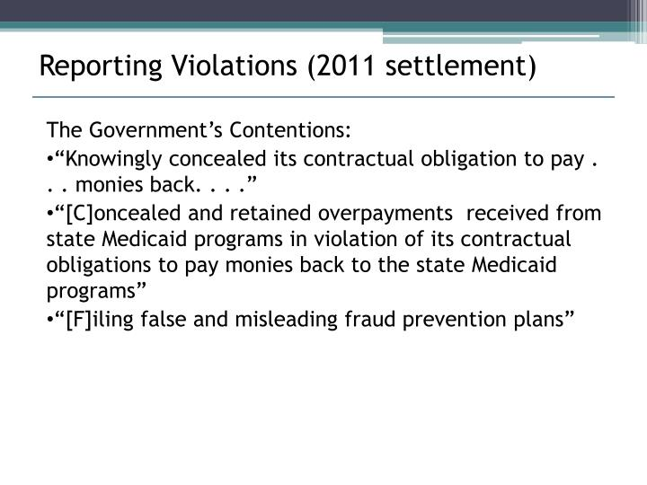 Reporting Violations (2011 settlement)