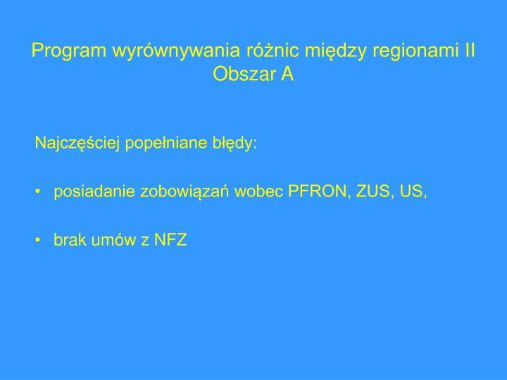 Program wyrównywania różnic między regionami II