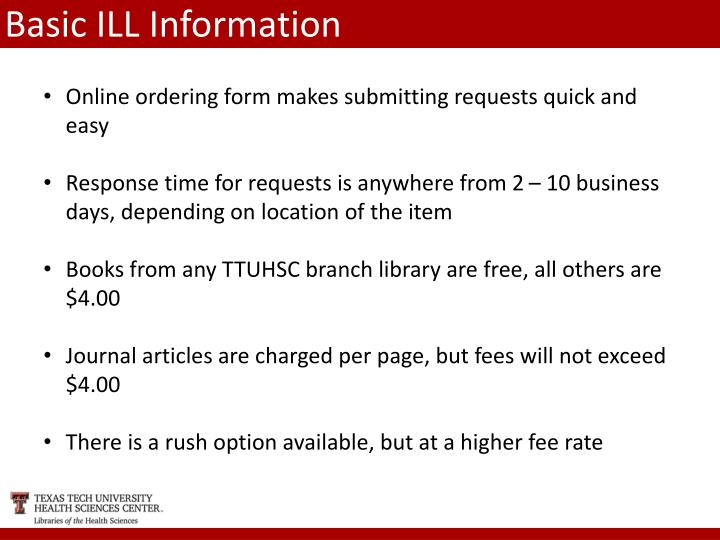 Basic ILL Information