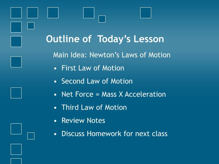 Outline of today s lesson