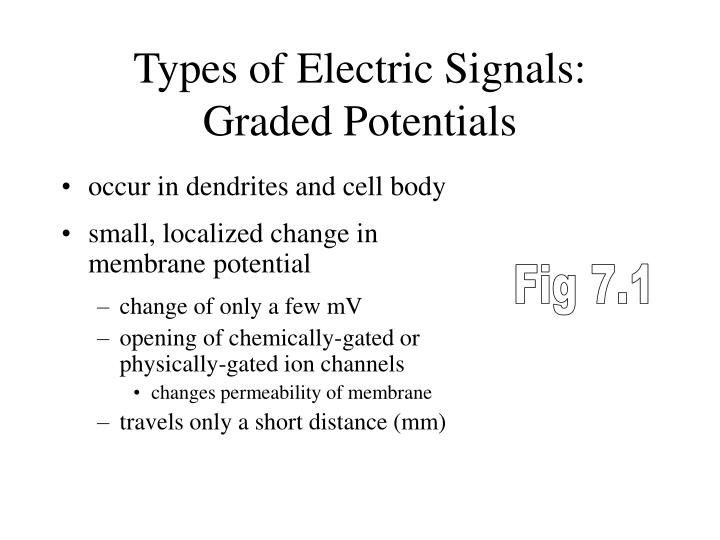 Types of Electric Signals:  Graded Potentials