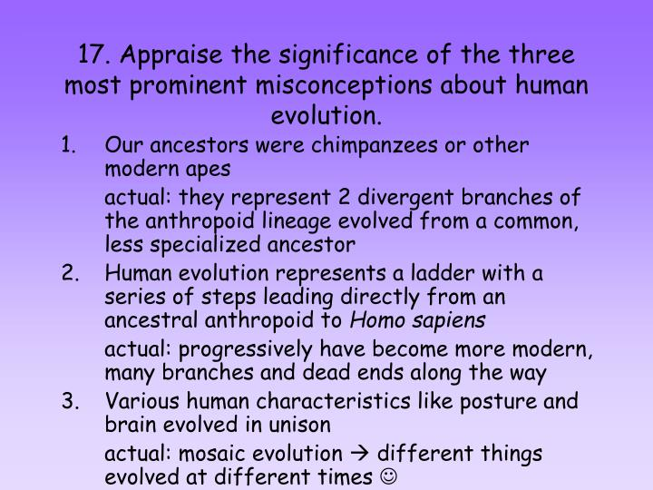 17. Appraise the significance of the three most prominent misconceptions about human evolution.