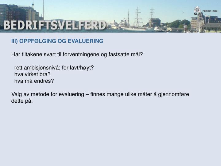 III) OPPFØLGING OG EVALUERING