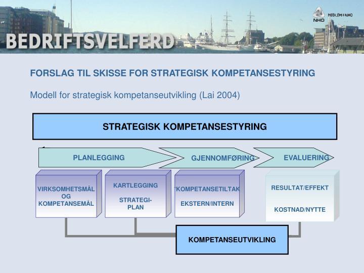 FORSLAG TIL SKISSE FOR STRATEGISK KOMPETANSESTYRING