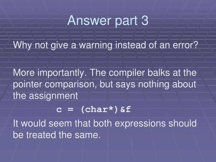 Answer part 3