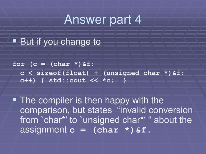 Answer part 4