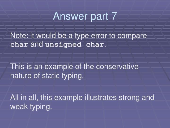Answer part 7