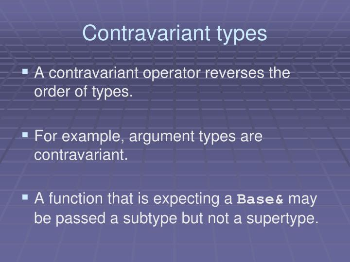 Contravariant types
