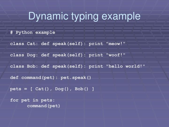 Dynamic typing example