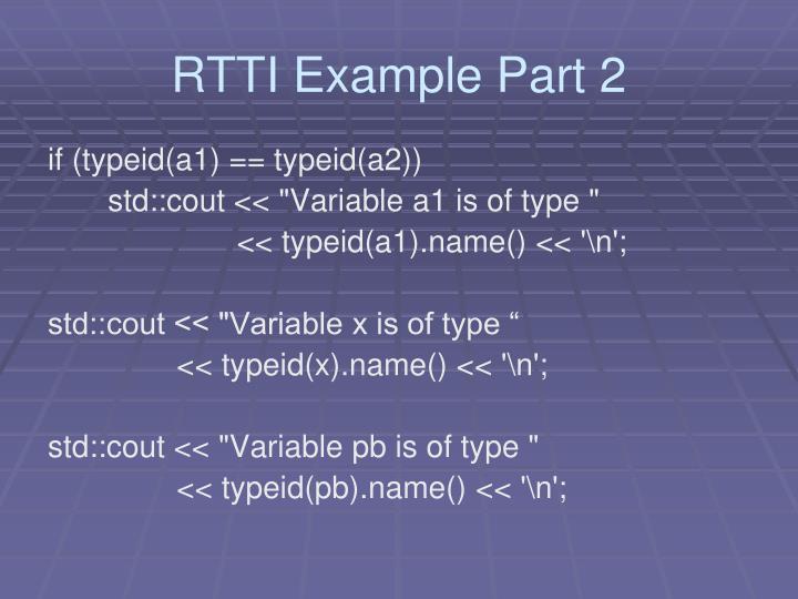 RTTI Example Part 2