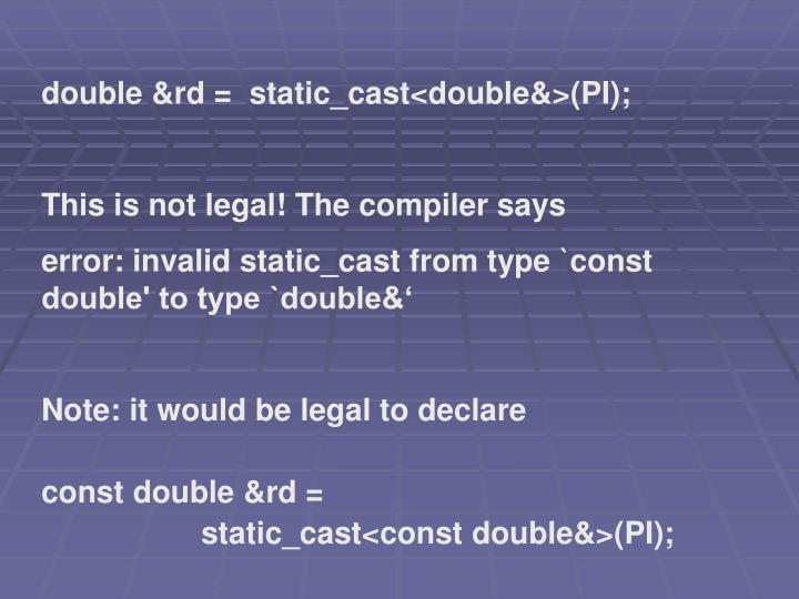 double &rd =  static_cast<double&>(PI);