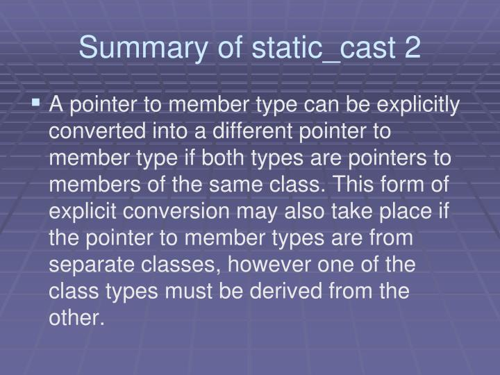 Summary of static_cast 2