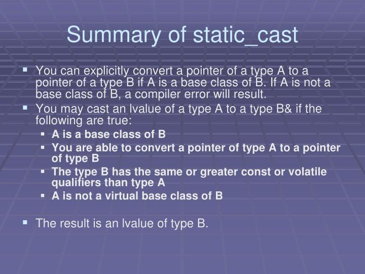 Summary of static_cast