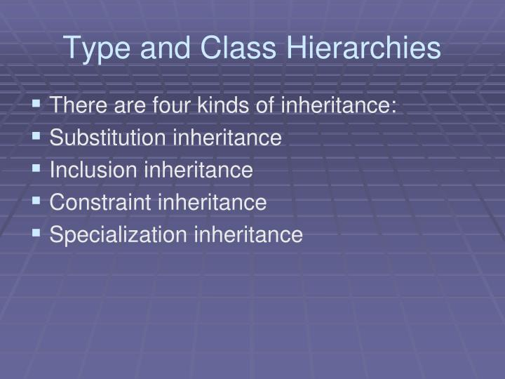 Type and Class Hierarchies