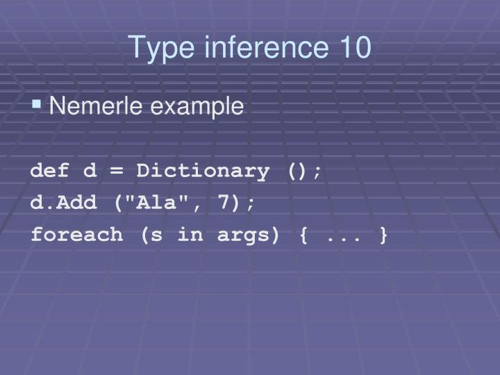 Type inference 10