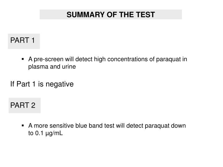 SUMMARY OF THE TEST