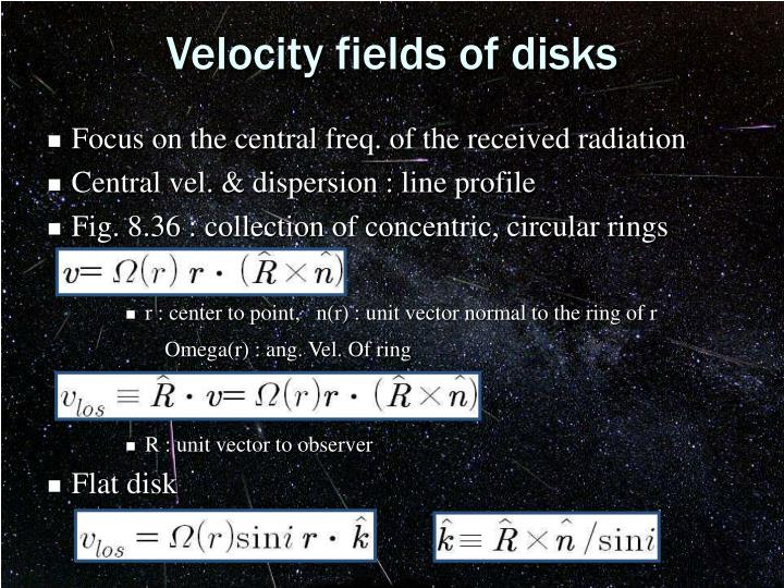 Velocity fields of disks