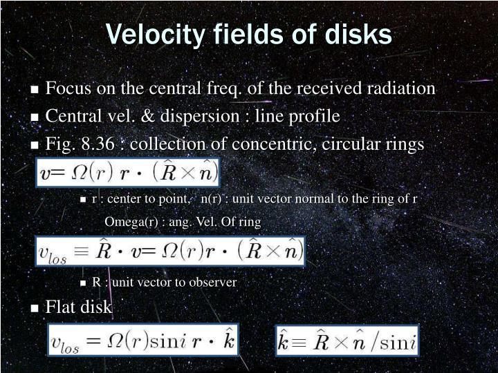Velocity fields of disks