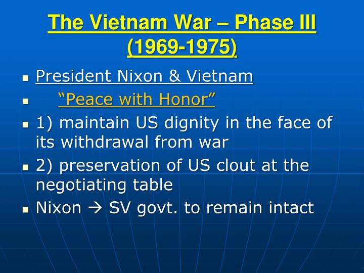 The vietnam war phase iii 1969 1975