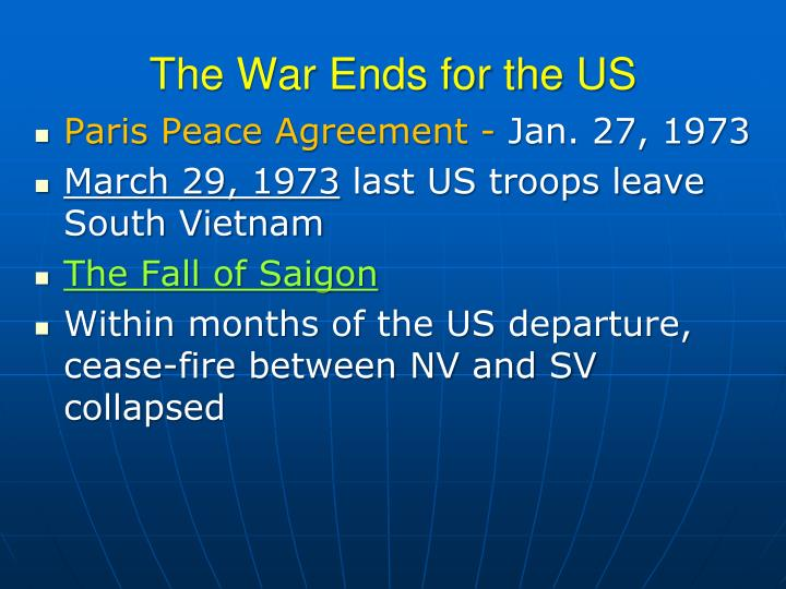 The War Ends for the US