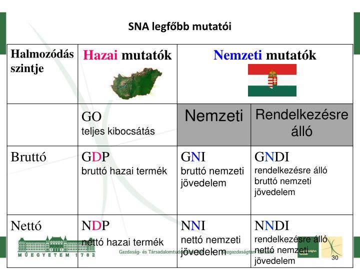 SNA legfőbb mutatói