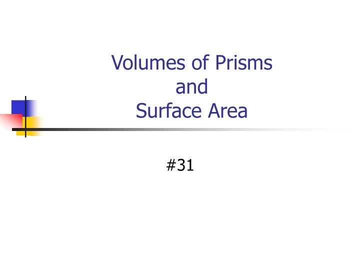 Volumes of prisms and surface area