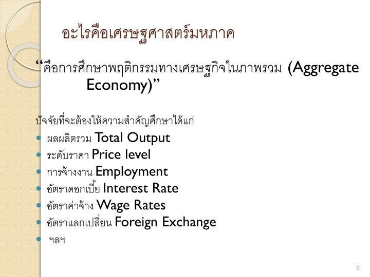 อะไรคือเศรษฐศาสตร์มหภาค