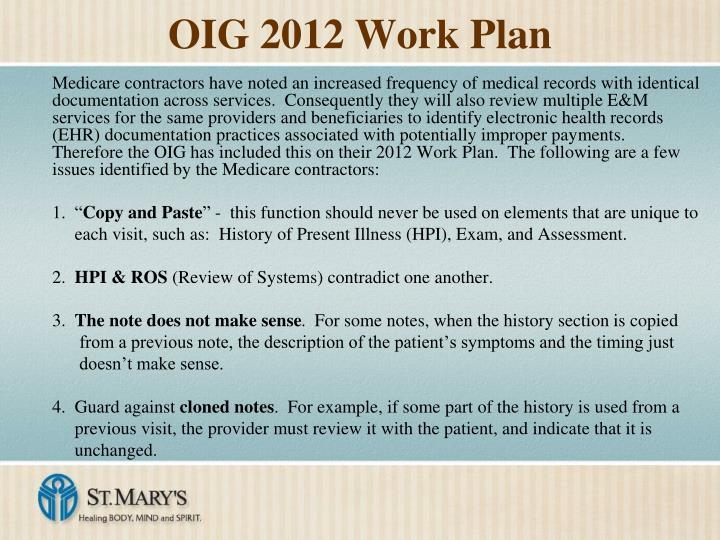 OIG 2012 Work Plan