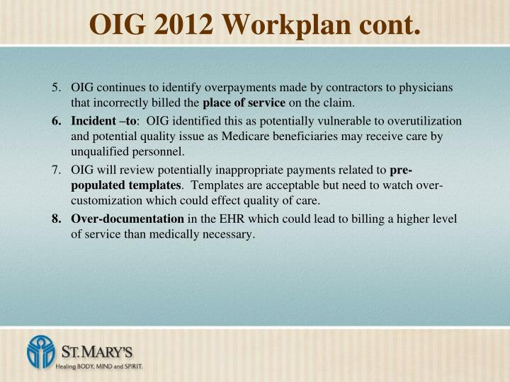 OIG 2012 Workplan cont.