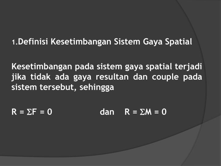 Definisi Kesetimbangan Sistem Gaya Spatial