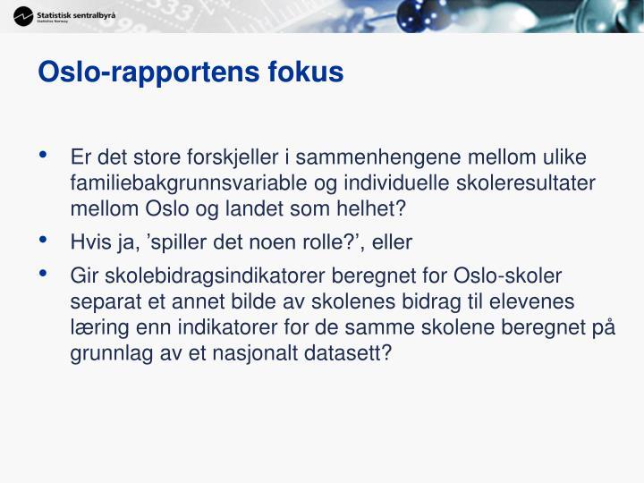 Oslo-rapportens fokus