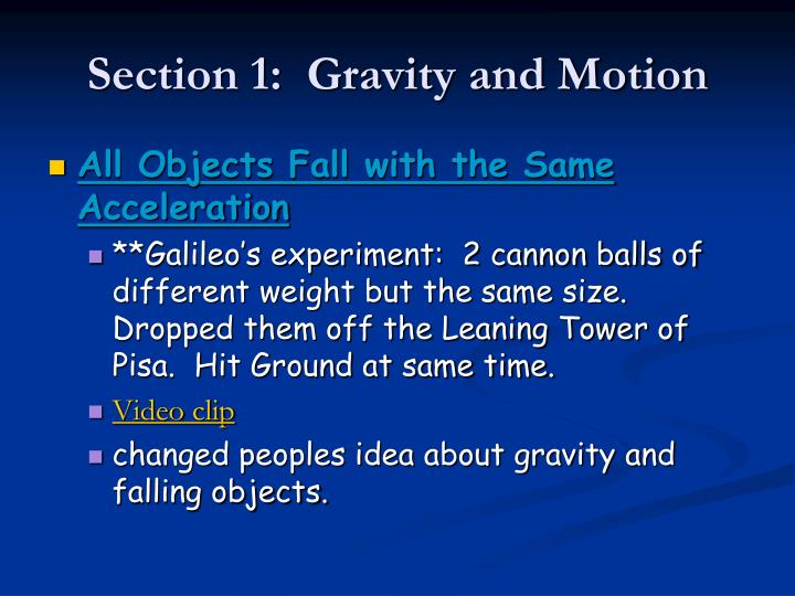 Section 1 gravity and motion