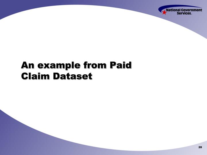 An example from Paid Claim Dataset