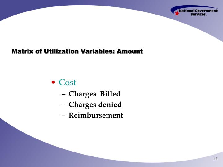 Matrix of Utilization Variables: Amount