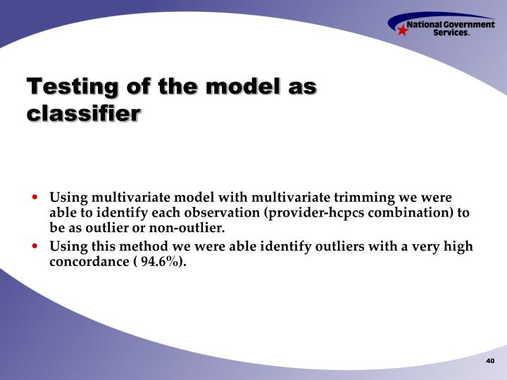 Testing of the model as classifier