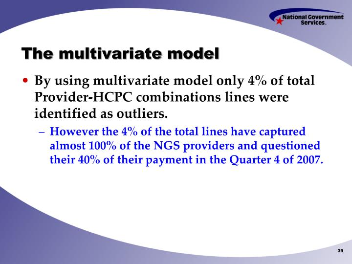 The multivariate model